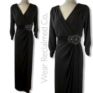 ALEX EVENINGS Formal Black Evening Dress w Beading